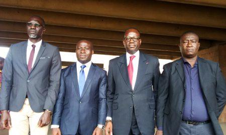 Le président du Conseil communal des jeunes de Yopougon, Bakayoko Nouho, encadré par les officiels