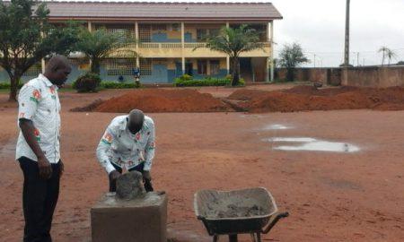 Pause de la première pierre de la première école maternelle du groupe scolaire la fondation à Yamoussoukro